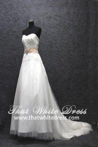 Silver - wedding gown 1405WL001 LL A line Pink Belt