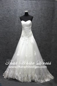 Silver - wedding gown 1405WL002 CS A Line pleated Heart Lace