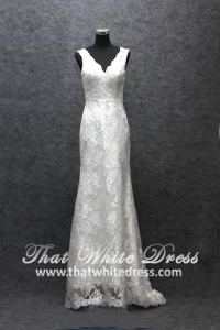 Silver - wedding gown S1405W001 City Strap Lace V back