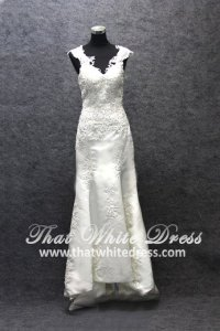 Silver - wedding gown S1405W004 CS Lace sleeves strapless Duchesses Mermaid Trumpet