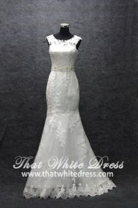 Silver - wedding gown S1408W01 LL Illusioned neckline Trumpet Full Lace Pronovias