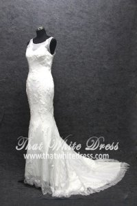 Silver - wedding gown S1408W04 LL Illusioned neckline Strapless Trumpet Pronovias
