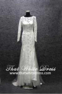 Silver - wedding gown S1408W08 LL Long Sleeves 3d Lace floor Berta Bride