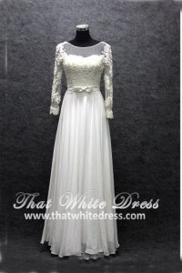 Silver - wedding gown S1408W09 LL Long Sleeves Berta Bride Chiffon