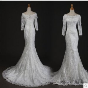 Silver - wedding gown 1405WL003 Long Sleeves straight neck lace Plus Size