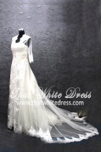 Silver - wedding gown 1405WL005 LL Bulero Long Lace Plus Size