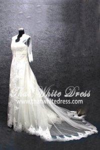 Silver - wedding gown 1405WL005 LL Bulero Long Lace Plus Size
