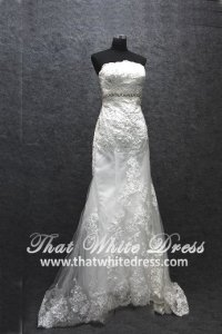 Silver - wedding gown 1405WL007 Tube Trumpet Lace Highwaist