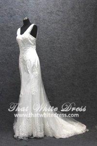 Silver - wedding gown 1405WL008 Strapless Chiffon Strap Trumpet Plus Size